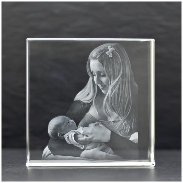 Kvadratisk Glasblok - 3,5 x 12 x 12 cm