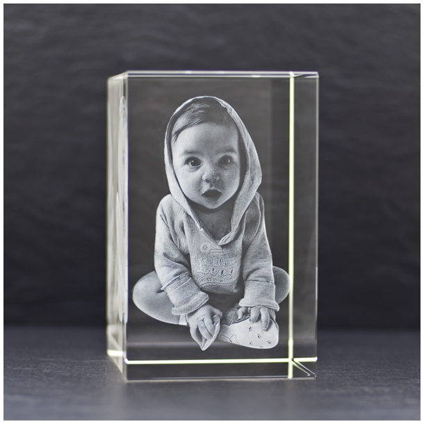 Rektangulær Glasblok - 9 x 9 x 14 cm