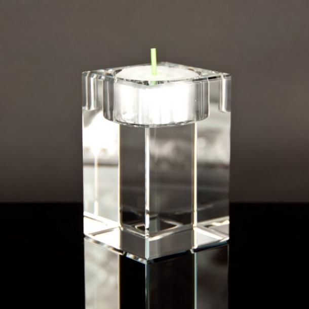 Glasblok til Fyrfadslys - 5 x 5 x 8 cm